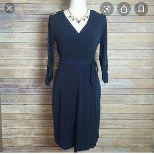 Calvin Klein Navy Wrap dress with gold hardware